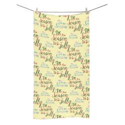 "Christmas 'Tis The Season Pattern on Yellow Bath Towel 30""x56"""