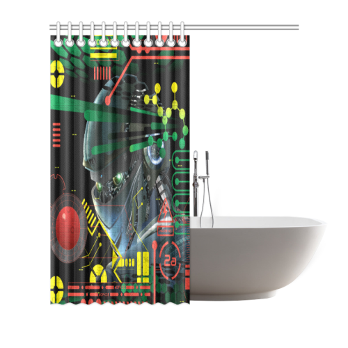 "Futuristic Sci-Fi Robot Shower Curtain 66""x72"""