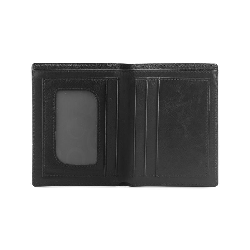 circle bar Men's Leather Wallet (Model 1612)