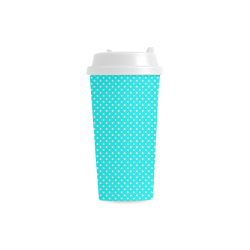Baby blue polka dots Double Wall Plastic Mug