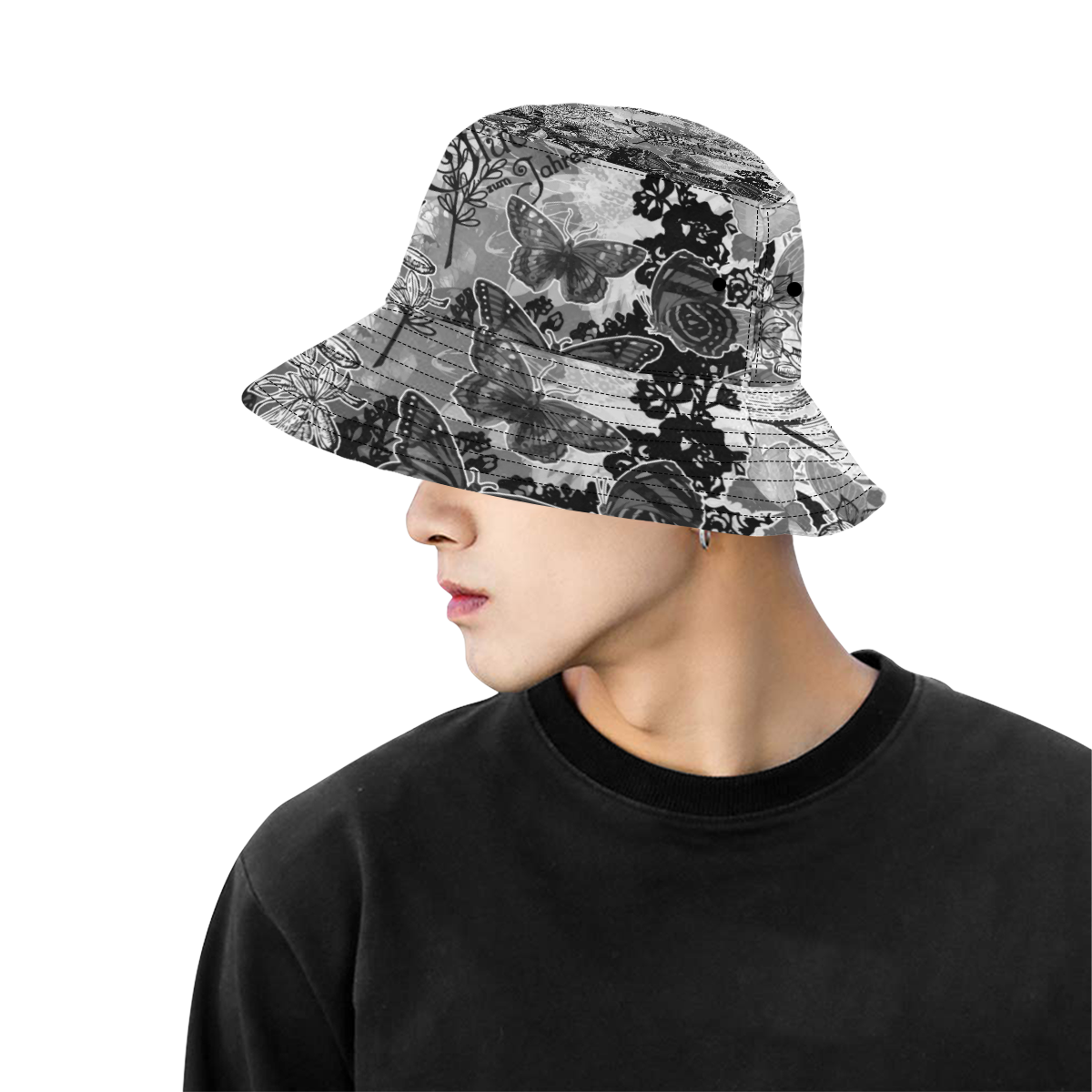 Lady and butterflies All Over Print Bucket Hat for Men