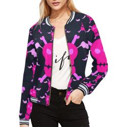 scullss*sweater All Over Print Bomber Jacket for Women (Model H21)