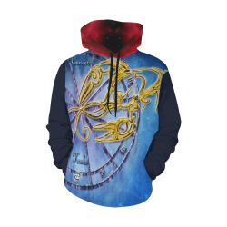 cancer blue All Over Print Hoodie for Women (USA Size) (Model H13)