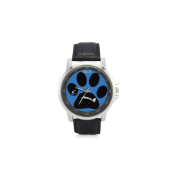 BooBooFace by MacAi in blue Unisex Stainless Steel Leather Strap Watch(Model 202)