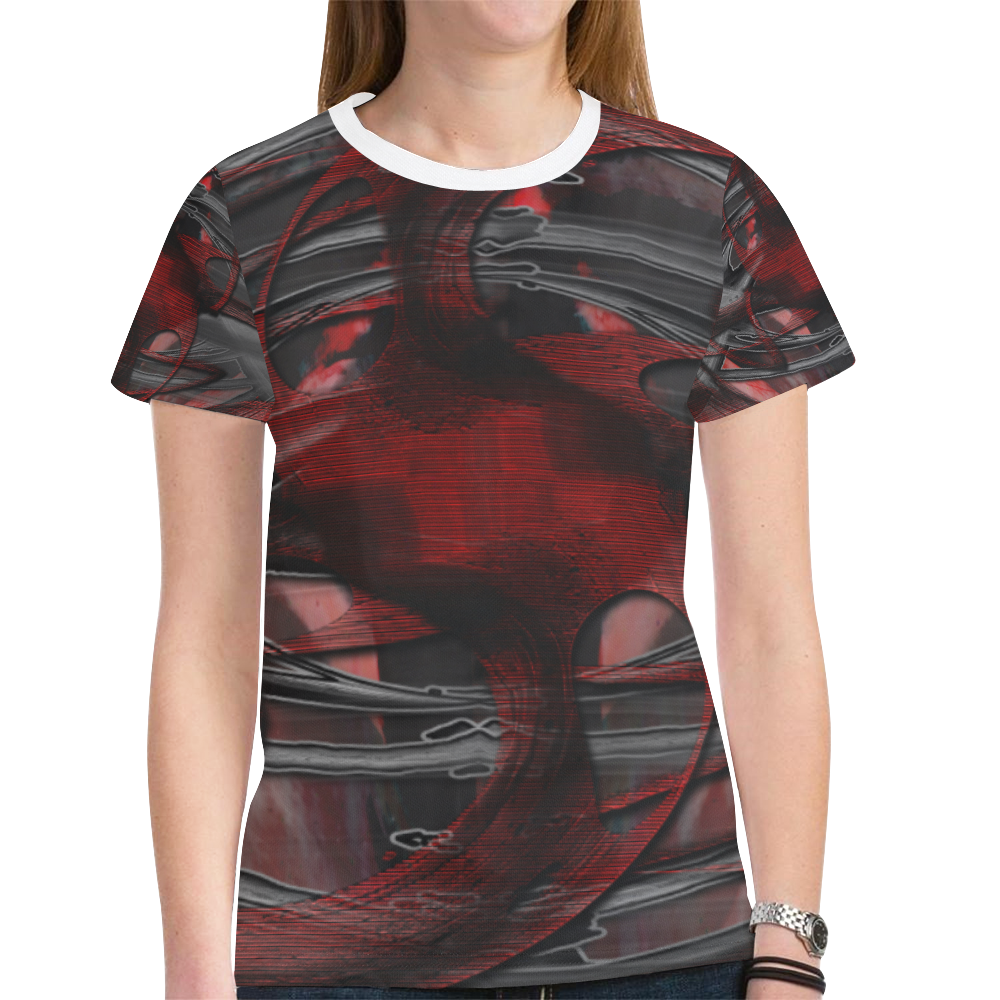 Cage Red Dark Crew New All Over Print T-shirt for Women (Model T45)