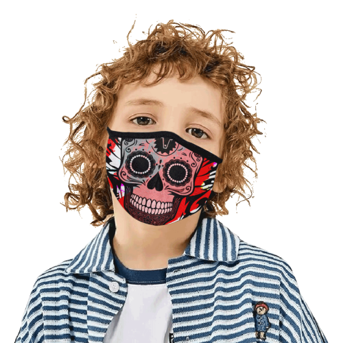 SKULL TRIBLE RED 3D MASK Mouth Mask in One Piece (2 Filters Included) (Model M02)