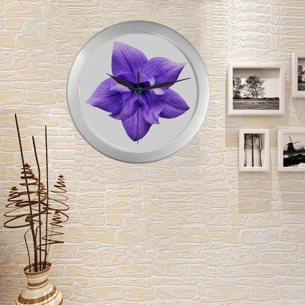 Balloon Flower Silver Color Wall Clock