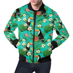 Tropical Summer Toucan Pattern All Over Print Bomber Jacket for Men (Model H19)