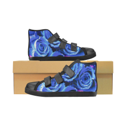 roses are blue Velcro High Top Canvas Kid's Shoes (Model 015)