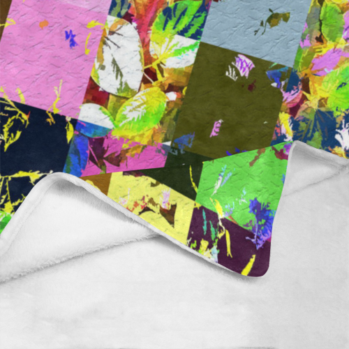 "Foliage Patchwork #3 - Jera Nour Ultra-Soft Micro Fleece Blanket 60""x80"""