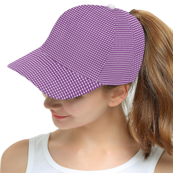 Purple Gingham Checked Pattern All Over Print Snapback Hat D