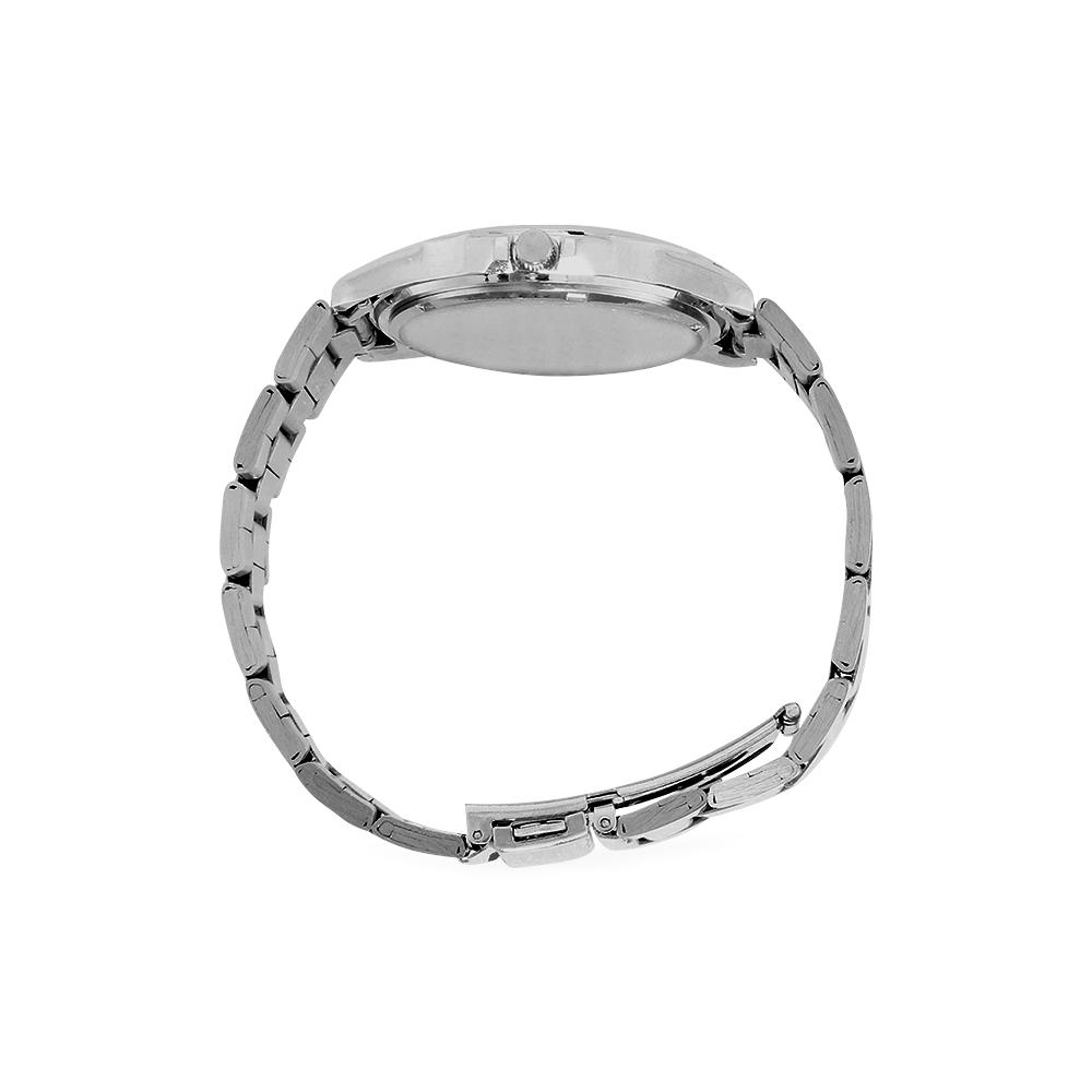 SERIES NOALIE WATERCOLOR BLUE SUN II Men's Stainless Steel Analog Watch(Model 108)
