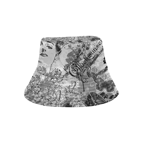 Lady and butterflies All Over Print Bucket Hat