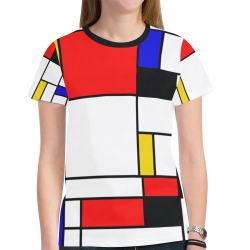 Bauhouse Composition Mondrian Style New All Over Print T-shirt for Women (Model T45)