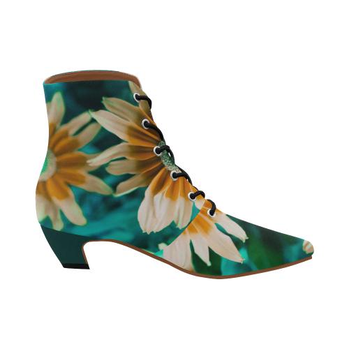 Yellow Orange Flower on Turquoise Green Photo Women's Pointed Toe Low Heel Booties (Model 052)