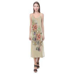 leather flower art V-Neck Open Fork Long Dress(Model D18)