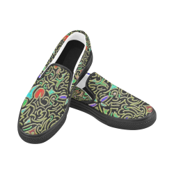 swirl retro abstract doodle Slip-on Canvas Shoes for Men/Large Size (Model 019)