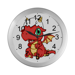 Baby Red Dragon Silver Color Wall Clock