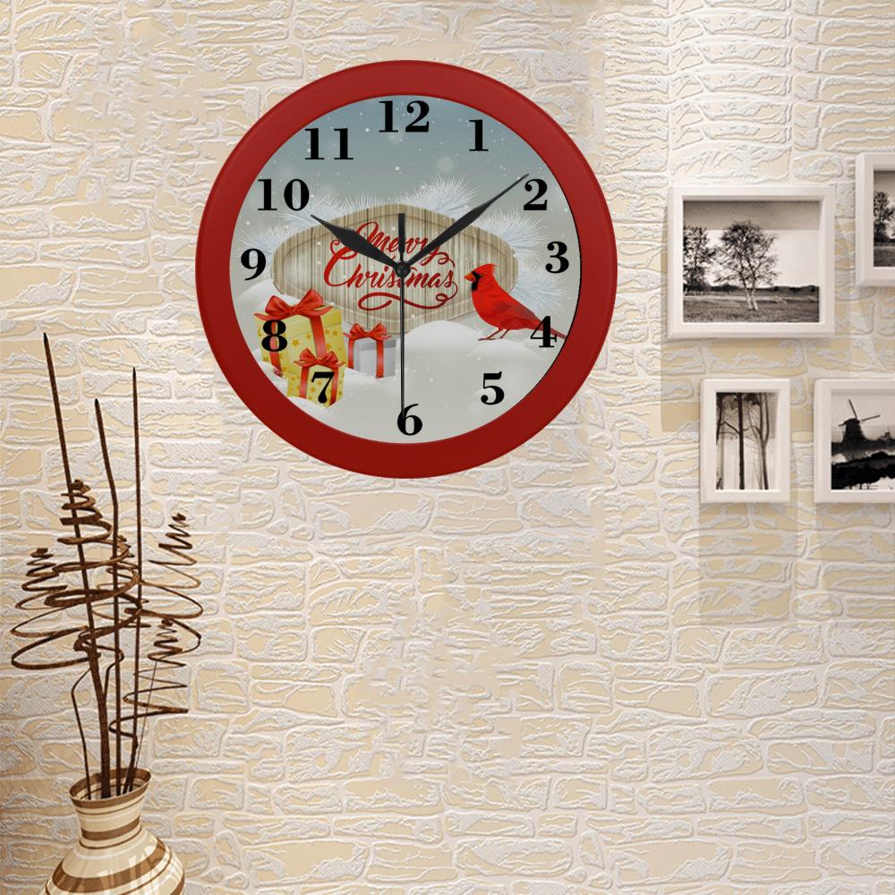 Merry Christmas Cardinal Circular Plastic Wall clock
