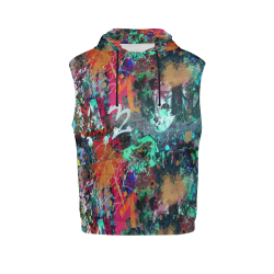 Graffiti Wall and Paint Splatter All Over Print Sleeveless Hoodie for Women (Model H15)