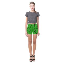 Alien Flying Saucers Stars Pattern on Green Briseis Skinny Shorts (Model L04)