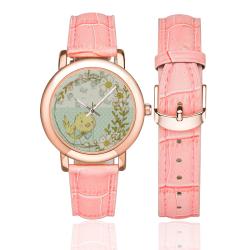 Little Cute Birdie Women's Rose Gold Leather Strap Watch(Model 201)