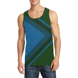 Classic Blue Layers on Green Men's All Over Print Tank Top (Model T57)