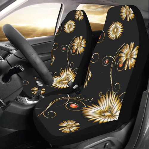 Flowers in golden colors Car Seat Covers (Set of 2)
