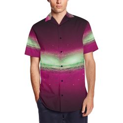 Space Men's Short Sleeve Shirt with Lapel Collar (Model T54)