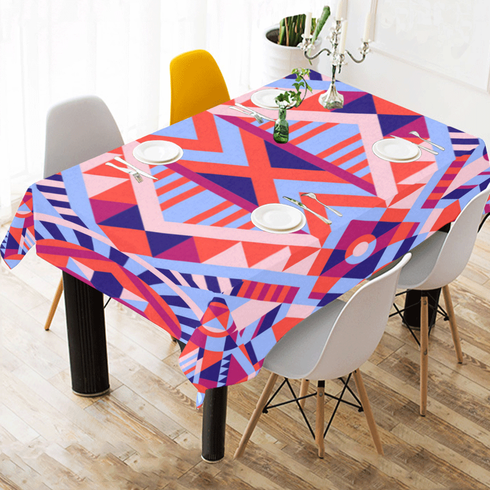 "Modern Geometric Pattern Cotton Linen Tablecloth 60""x 84"""