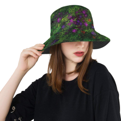 Wild Rose Garden, Oil painting. Red, purple, green All Over Print Bucket Hat