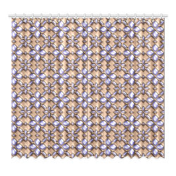 """Blue glass pattern in brown background. Window Curtain 52""""x96""""(Two Piece)"""