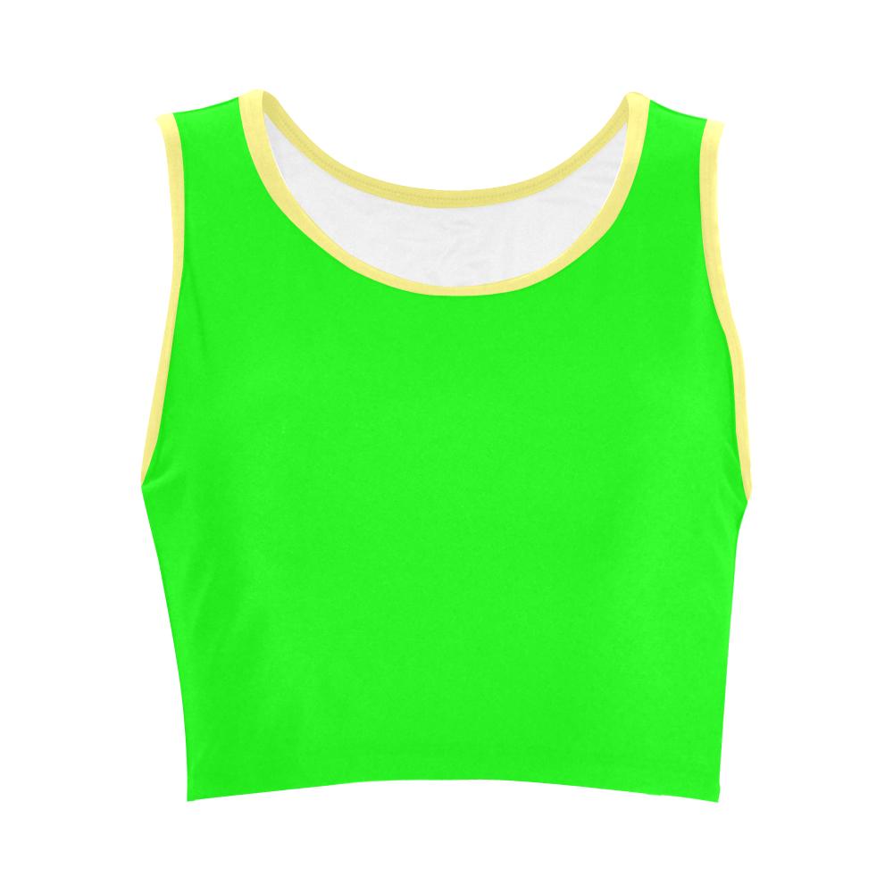 Bright Neon Green / Yellow Women's Crop Top (Model T42)