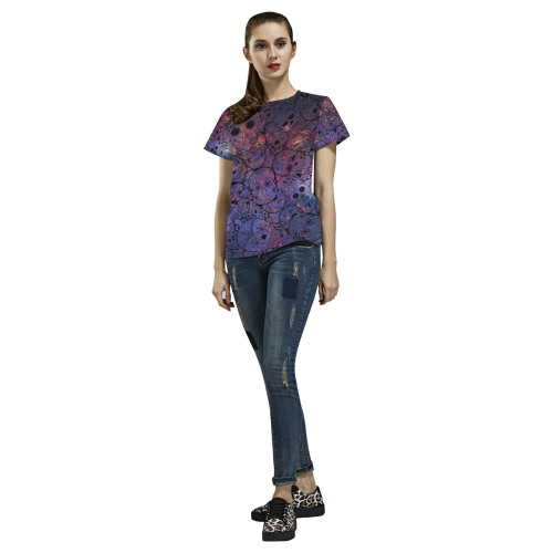 Cosmic Sugar Skulls All Over Print T-Shirt for Women (USA Size) (Model T40)