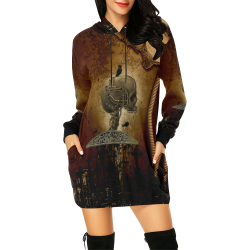 Mechanical skull All Over Print Hoodie Mini Dress (Model H27)
