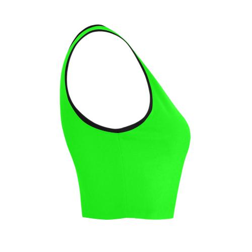 Bright Neon Green / Black Women's Crop Top (Model T42)