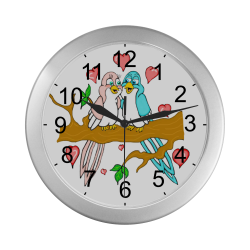 Love Birds Silver Color Wall Clock