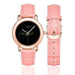 Black Cat Women's Rose Gold Leather Strap Watch(Model 201)