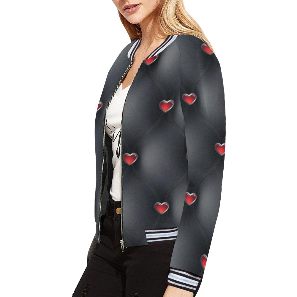 chaqueta de mujer negro acolchado All Over Print Bomber Jacket for Women (Model H21)
