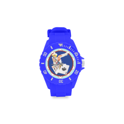 LasVegasIcons Poker Chip - Sassy Sally  Blue Sport Rubber Strap Watch(Model 301)