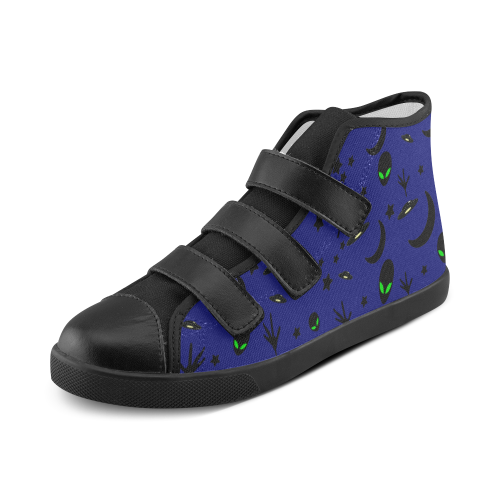 Alien Flying Saucers Stars Pattern Velcro High Top Canvas Kid's Shoes (Model 015)