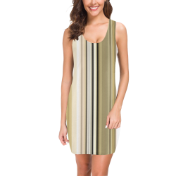 Silver and gold stripes vertical Medea Vest Dress (Model D06)