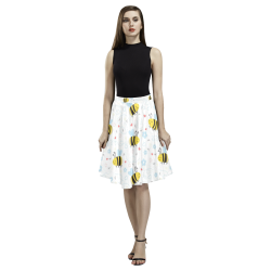 Cute Bee Pattern Melete Pleated Midi Skirt (Model D15)