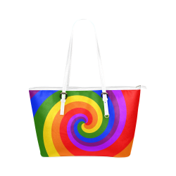 Rainbow Spiral Leather Tote Bag/Small (Model 1651)