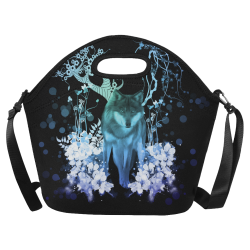 Awesome wolf with flowers Neoprene Lunch Bag/Large (Model 1669)