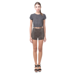 Brown Crackling With Stitching Briseis Skinny Shorts (Model L04)