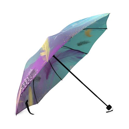 Dancing Feathers - Turquoise and Purple Foldable Umbrella (Model U01)