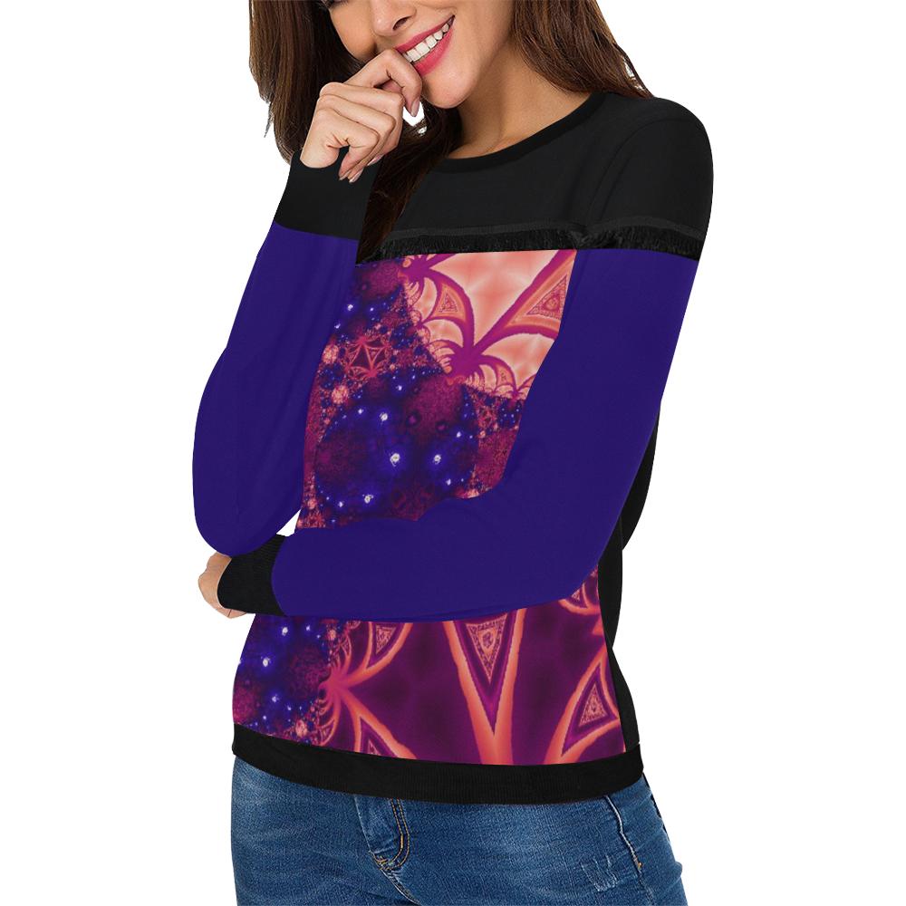 Moonlit Colourful Tropics Women's Fringe Detail Sweatshirt (Model H28)