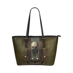 Awesome dark skull Leather Tote Bag/Small (Model 1651)