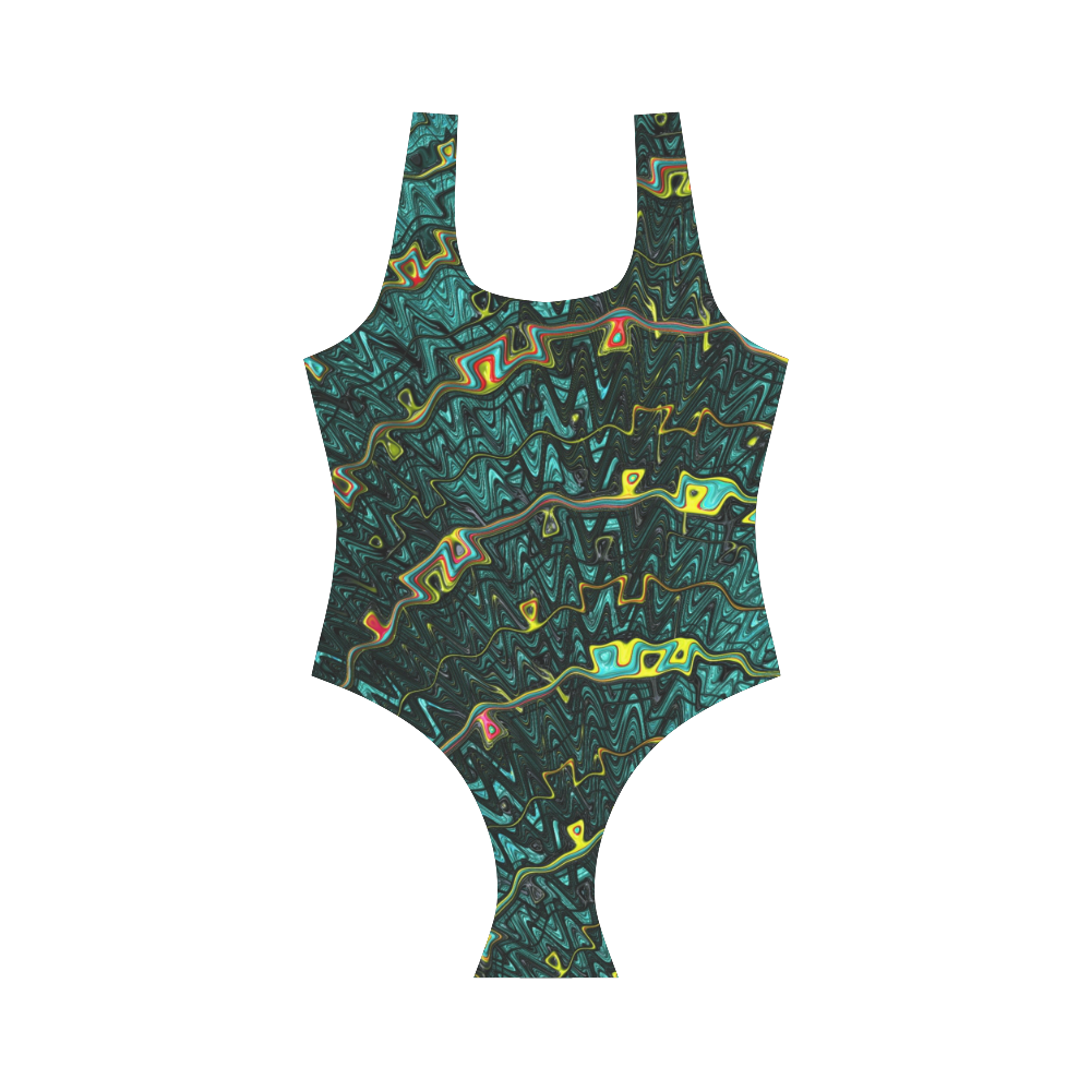 Green with Fractal Ribbons Vest One Piece Swimsuit (Model S04)